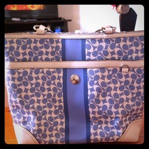 Coach bag- blue and white